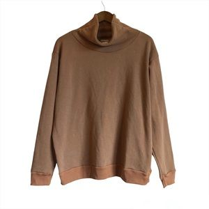 NWT DONNI. Long Sleeve Cozy Mock Neck Pull Over Sweater Sweat Shirt Top Brown